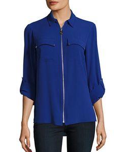 Michael Michael Kors | Crepe Zip-Front Long Sleeve Blouse