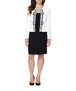 Tahari Arthur S. Levine | Embroide Jacket And Skirt Suit