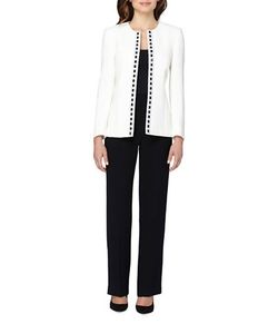 Tahari Arthur S. Levine | Beaded Open Jacket And Pant Suit