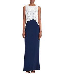 Lauren Ralph Lauren | Lace Bodice Crepe Gown