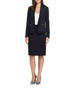 Tahari Arthur S. Levine | Two-Piece Faux Leather Trimmed Jacket And Skirt Suit Set
