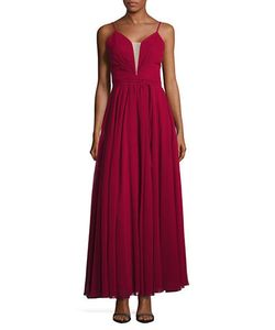Betsy & Adam | Sleeveless Lace-Up Fit-And-Flare Gown