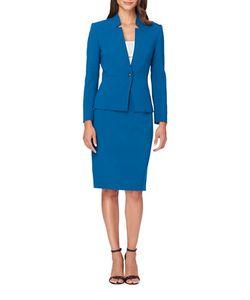Tahari Arthur S. Levine | Solid Starneck Jacket And Skirt Suit