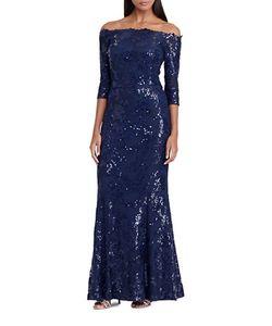 Lauren Ralph Lauren | Sequined Off-The-Shoulder Gown