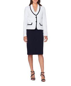 Tahari Arthur S. Levine | Hi-Contrast Jacket And Skirt Suit Set