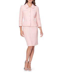 Tahari Arthur S. Levine | Pearl Button Knit Jacket And Skirt Set