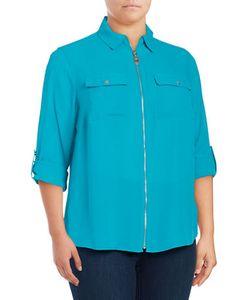 Michael Michael Kors | Plus Crepe Zip-Front Shirt