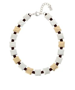 Robert Lee Morris Soho | Two-Tone Square Station Collar Necklace