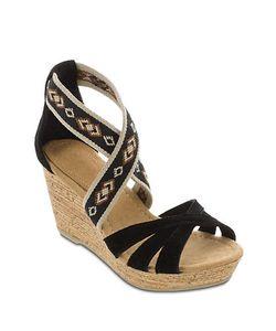 Minnetonka | Drew Suede And Elastic Wedge Sandals