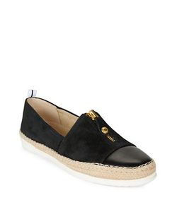 AK Anne Klein   Suede And Leather Espadrille Slip-Ons