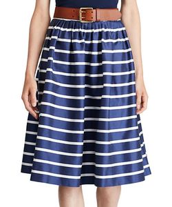 Polo Ralph Lauren | Striped Cotton And Mulberry Silk A-Line Skirt