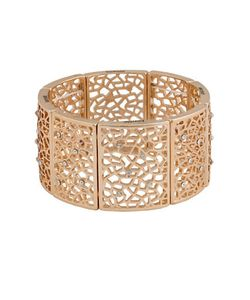 Kensie | Lace Crystal-Accented Cutout Stretch Bracelet