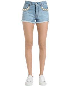 Forte Couture | Embellished Cotton Denim Shorts