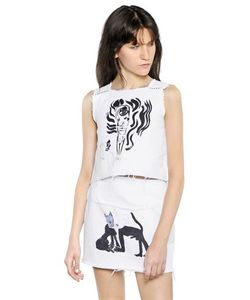 Claire Barrow   Printed Denim Top With Stitching Detail