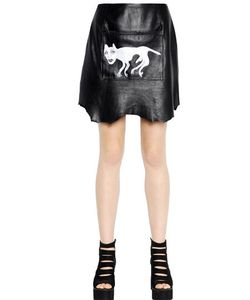 Claire Barrow   Printed Raw Hide Leather Mini Skirt