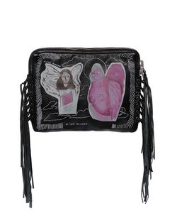 Claire Barrow   Fringed Printed Nappa Leather Clutch