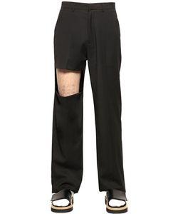 Xander Zhou | Fluid Wool Blend Pants With Cutout