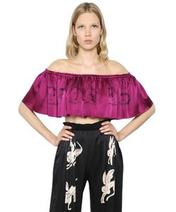 Claire Barrow   Cropped Ruffled Printed Satin Top
