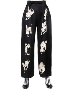 Claire Barrow   Wide Leg Printed Satin Trousers