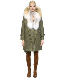 Ermanno Scervino | Cotton Canvas Jacket W/ Fox Fur Collar