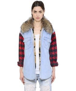 Forte Couture | Timber Denim Felt Jacket W/ Fur Collar