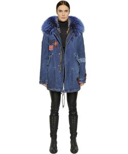 Mr & Mrs Italy | Cotton Denim Parka With Murmansky Fur