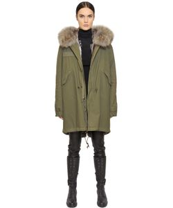 Mr & Mrs Italy | Cotton Canvas Parka With Rabbit Fur