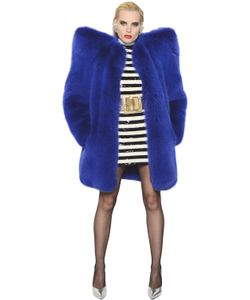 Saint Laurent | Oversized Shoulder Fox Fur Coat