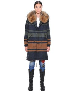 Mr & Mrs Italy | Striped Wool Coat W/ Raccoon Fur