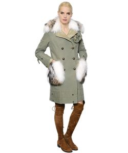 Ermanno Scervino | Cotton Canvas Parka W/ Fox Fur Collar
