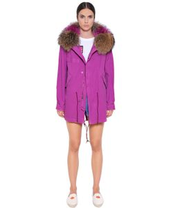 Mr & Mrs Italy | Midi Cotton Canvas Parka W/ Murmasky Fur