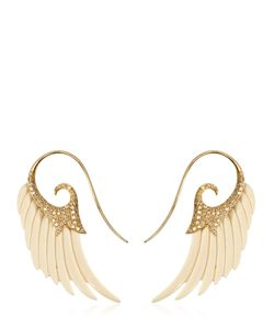 Noor Fares | Fly Me To The Moon Wing Ivory Earrings
