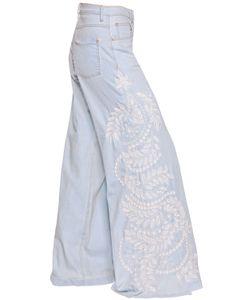 Amen | Wide Leg Embellished Cotton Denim Jeans