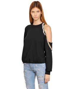Forte Couture | Cut Out Embellished Cotton Sweatshirt