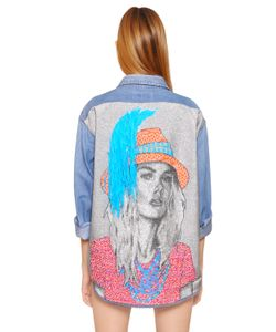 Forte Couture | Cotton Denim Jacket With Woven Back