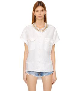 Forte Couture | Embellished Cotton Short Sleeve Shirt