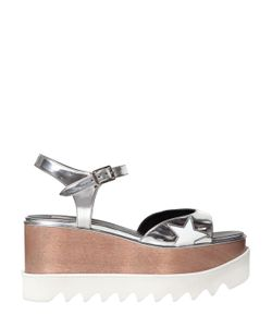 Stella McCartney   75mm Elyse Faux Metallic Leather Sandals