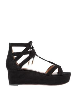 Aquazzura   55mm Beverly Hills Lace-Up Suede Wedges
