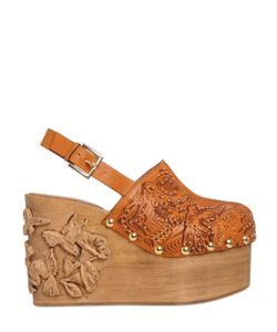 RED Valentino   110mm Embellished Leather Wood Clogs