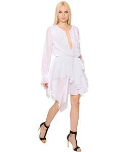 Alexandre Vauthier | Long Sleeve Ruffled Cotton Voile Dress