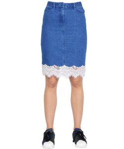 Steve J & Yoni P | Cotton Denim Skirt W/ Lace Trim