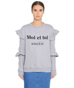 Steve J & Yoni P | Cotton Sweatshirt W/ Ruffled Sleeves