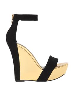 Balmain   140mm Suede Mirror Leather Wedges