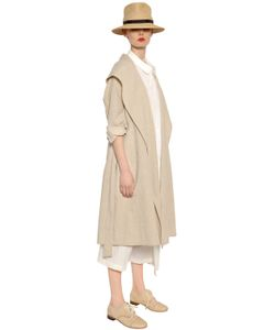 Y's   Cotton Linen Canvas Trench Coat