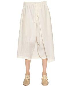 Y's   Cropped Cotton Linen Pants