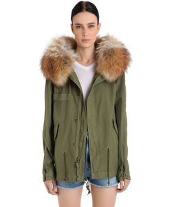 Mr & Mrs Italy | Mini Cotton Canvas Parka W/ Murmasky Fur