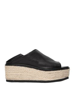 JANET&JANET   50mm Leather Espadrille Wedges