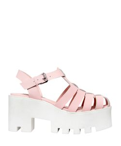 WINDSOR SMITH | 80mm Fluffy Leather Platform Sandals