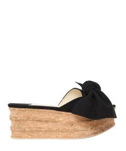 Paloma Barceló   60mm Platform Bow Suede Cork Sandals