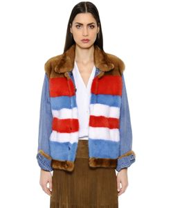 SIMONETTA RAVIZZA | Reversible Striped Mink Denim Jacket